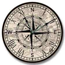 "10.5"" Compass Rose Old Map Pattern Wall CLOCK - Beachy Antique Decor - 7131_FT"