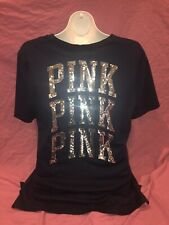 Victorias Secret PINK Campus Navy Blue Loose Fit Tee Silver Bling Sequin M L New