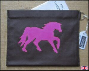 Brown Leather, Pink Welsh Pony Passport / Document Holder.