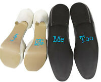 "Set of ""I Do"" ""Me Too"" Crystal Rhinestone Wedding Shoe Stickers, Blue"