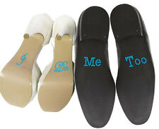 "Set of ""I Do"" ""Me Too"" Crystal Rhinestone Wedding Shoe Stickers, Blue"