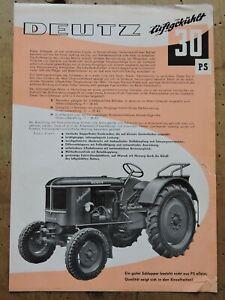 orig. Prospekt Deutz 30PS luftgekühlt F2L514 Traktor Schlepper 1957