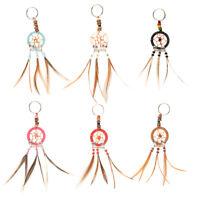 6pc Mini Dream Catcher Keychain Set Handmade Real Feathers Pendant Accessories