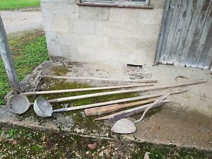 Agricultural antique hand tools(well scoops, pitch forks ,hedge slasher etc)