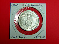 UNC German 🇩🇪 5 Mark Silver Coin Third Reich Large Swastika Reichsmark 1939-F