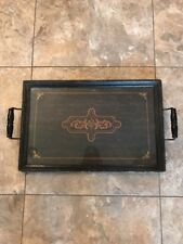 Antique Wood Glass Handed Seving Tray Kitchen Dining Room Home Deco WOW