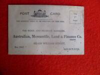 AUST MERCANTILE LAND & FINANCE Co.MELBOURNE VIC VINTAGE POSTCARD