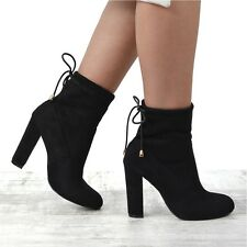 Womens Faux Suede Block Heel Stretch Chelsea Ankle Boots