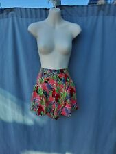 Forever 21 Pink Tropical Print Viscose Pleated High waisted Hot Pants Shorts M