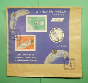 DR WHO 1965 PARAGUAY FDC SPACE UIT/ITU ANIV S/S  Lg10320