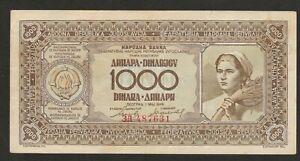 1946 YUGOSLAVIA 1,000 DINARA NOTE