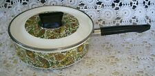 Vintage Enamelware Enamel Fancipan Paisley Cooking Frying Pan Pot W/Lid