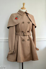 TOPSHOP beige CAMEL 1940's cape coat CAPELETT pin up 1950's FIT FLARE RIDING 12