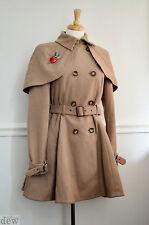 TOPSHOP beige CAMEL 1940's cape coat CAPELETT pin up 1950's FIT FLARE RIDING 12