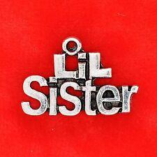 """3 x tibétain argent """"lil (petit) sœur"""" plaque charme pendentifs fabrication de bijoux"""