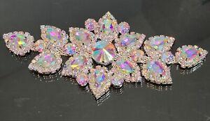 Bridal DIY Rhinestone Crystal AB Sew On Dress Applique  🇺🇸 USA SELLER