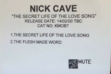 NICK CAVE - THE SECRET LIFE OF THE LOVE SONG / FLESH MADE WORD - Promo Cd Single