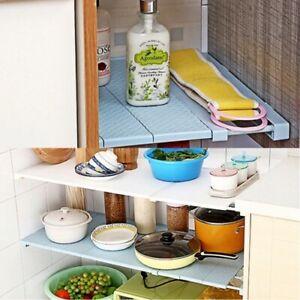 Wardrobe Storage Rack Layer Partition Kitchen Bathroom Telescopic Organizer AU