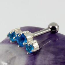 Cartilage Bar Lobe Helix Upper Ear Silver Motif Aquamarine Crystal 1.2 x 6mm New