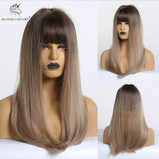 Dark Root Light Blonde Wigs Natural Synthetic Hairline Replacement Wig for Women