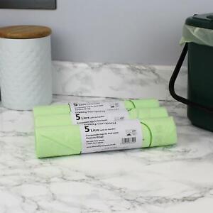 5 Litre x 150 Compostable Tie Handle Caddy Liners-Food Waste Bin Bags-EN13232
