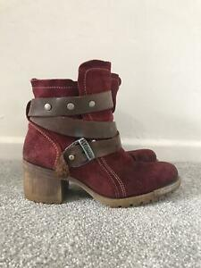 Fly London Boots Size 6 Red Suede Chelsea Ankle Heeled Ladies Boots EU 39
