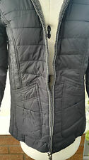 Centigrade Zip Front Quilted Jersey Lined Coat in Navy Size S