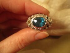 Judith Ripka Sterling Silver London Blue Topaz, Diamonique CZ  Dome Ring, Size 6