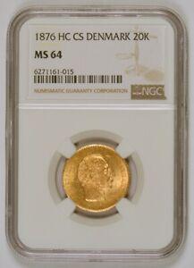 "1876 Denmark 20 Kroner Gold Coin for Christian IX, the ""Mermaid coin"", NGC MS64"