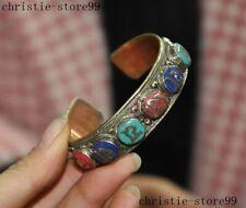 Tibet silver Inlay Turquoise coral gemstone Om Mani Padme Hum amulet bracelet