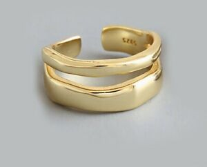Gold Plated Ring, Chunky Wave Adjustable Double Band Ring, Thumb Finger Ring
