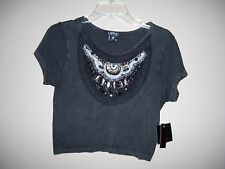 OPPA! Womens Size M Jeweled Crop Knit Top Gray Color Short Sleeves