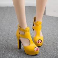 Womens Ladies Peep Toe Platform Hollow Out Summer High Heel Sandals Party Shoes