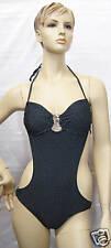 Split 1 Piece Swimsuit Black with Dots Medium NWT