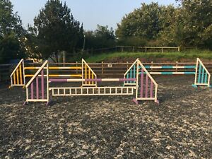 SET OF 3 HORSE SHOW JUMPS WITH POLES & FILLERS PURPLE YELLOW BLUE
