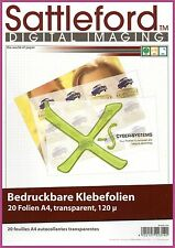 Sattleford 20 Klebefolien A4 für Inkjet transparent Aufkleber