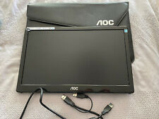 "AOC 15.6"" PORTABLE FULL HD IPS LCD MONITOR SCREEN I1659FWUX USB 3.0 POWERED Case"