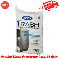 BestAir Trash Compactor Bags, 12 Bags, Strong Wet-Strength Paper & Plastic Liner