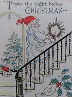1940s Vtg Night Before CHRISTMAS A Poor Mans Version Funny GREETING CARD