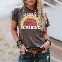 Casual You Are My Sunshine Rainbow Print T-Shirt Women Short Sleeve O-Neck Top P