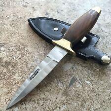 "Defender 7"" Medium Wood Handle Tactical Boot Knife with Black Sheath 450-7"