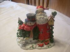 "Home Interiors ""Santa & Snowman"" Tealight Candleholder - V13820!"
