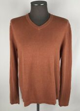 Banana Republic L/S V-Neck Lightweight Sweater Mens SZ M Orange 100% Cotton B16