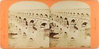FRANCE Nîmes Pont Du Gard, Photo Neurdein Stereo Vintage Albumine ca 1870
