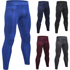 Men's Quick Dry Elastic Sports Tight Pants Zipper Pocket Fitness Solid Trousers