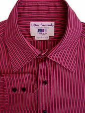 JOHN FRANCOMB TM LEWIN Shirt Mens 15.5 M Pink - Black Stripes Rovereto - FITTED