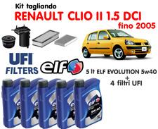 KIT TAGLIANDO OLIO ELF 5W40 5LT+4 FILTRI UFI RENAULT CLIO II 1.5 DCI