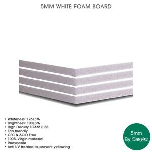 5MM White FOAM BOARD, A4, A3, A2, A1, High Density Foam, Eco Friendly, (10 Pack)