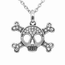 Studded Skull & Crossbones Necklace w. 33 Swarovski Crystals Jewelry By Controse
