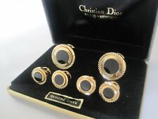 MINT! Stunning Christian Dior Diamond-Cut Onyx Cufflinks & Studs, New Old Stock